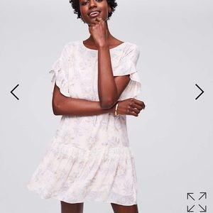 LOFT lace flounce dress size M NWT